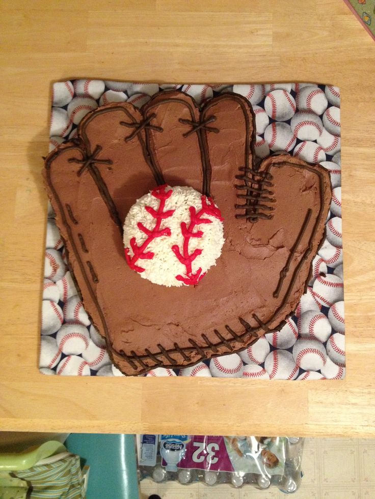 Baseball glove cupcake cake for Bryson's first birthday.