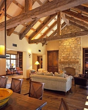 Attractive Barn House Idea: Wide Open Spaces, Exposed Beams, And Soaring Stone  Fireplace. From JMA   Mediterranean   Living Room   San Francisco   JMA  (Jim Murphy And ... Part 25