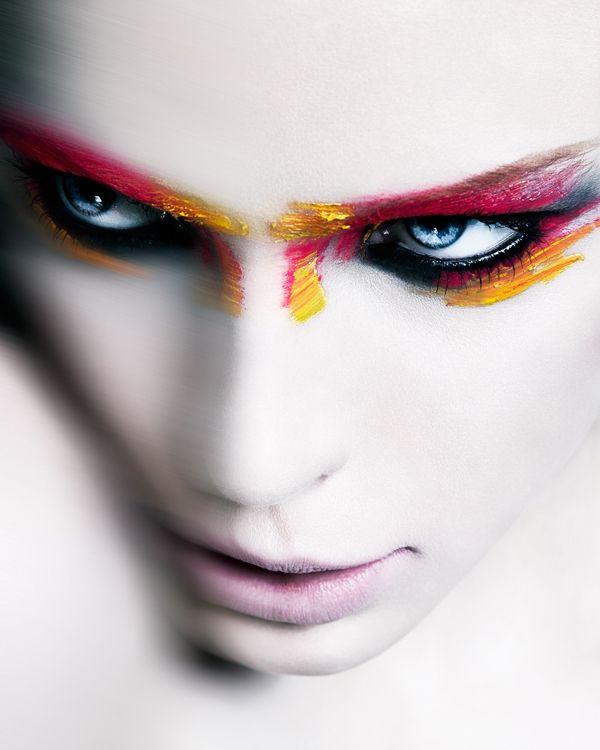 The Female of the Species is Deadlier than the Male by Steve Kraitt, via Behance #fire #eyes #paint