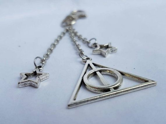 Harry Potter Deathly Hallows keychain keyring bag charm by DorsetCreations