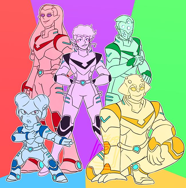 The next Dream Team✨✨ Black- Allura, Red- Nyma, Blue- Klaizap, Green- what I'm hoping is a bamf female robot/cyborg assassin from the teaser, Yellow- Shay. gimme VoltronStaff also kinda goes with this