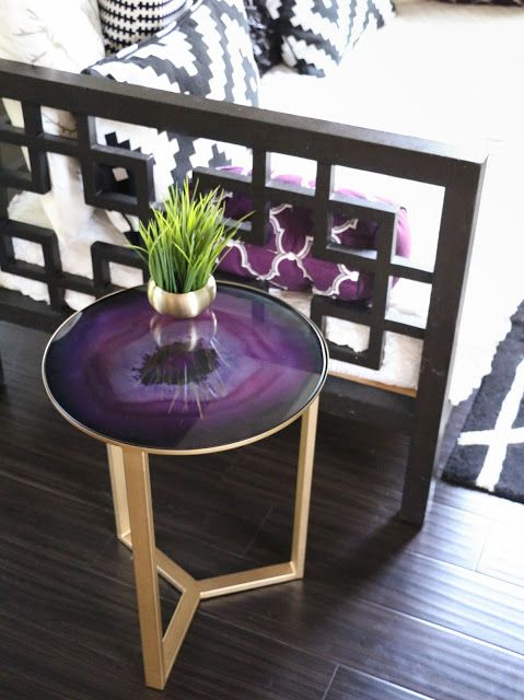 Decorate It - A Collection of Side Tables - gold and purple agate side tables from world market