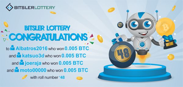 Congratulations to everyone who won the lottery yesterday 😆 with a shared prize of 0.02 BTC ($372) ! The next one will take place @ http://btslr.co/z6ZXE    #winners #BTC #LTC #ETH #BURST #DOGE -- http://bitsler.com