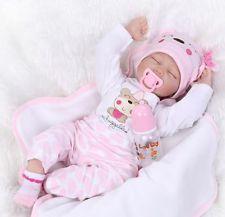"""22 """"Lifelike Reborn Baby Doll nouveau né en silicone Silicone fille de sommeil f"""