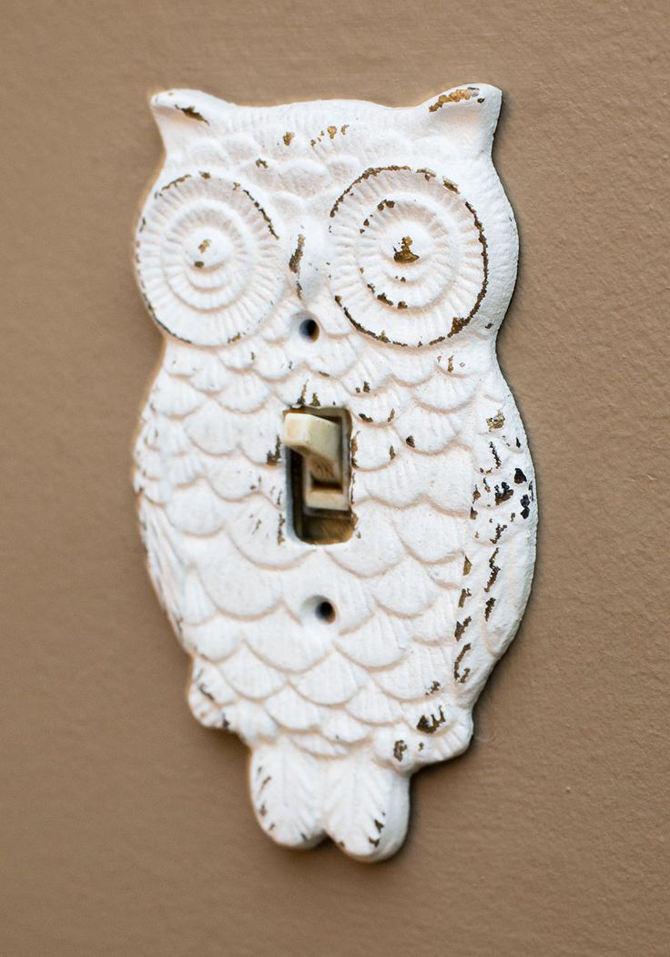 Owl Lights Out Switch Plate Cover. Remember the joy, when, as a little kid, your folks would turn out the lights and youd read by flashlight under the covers? #white #modcloth