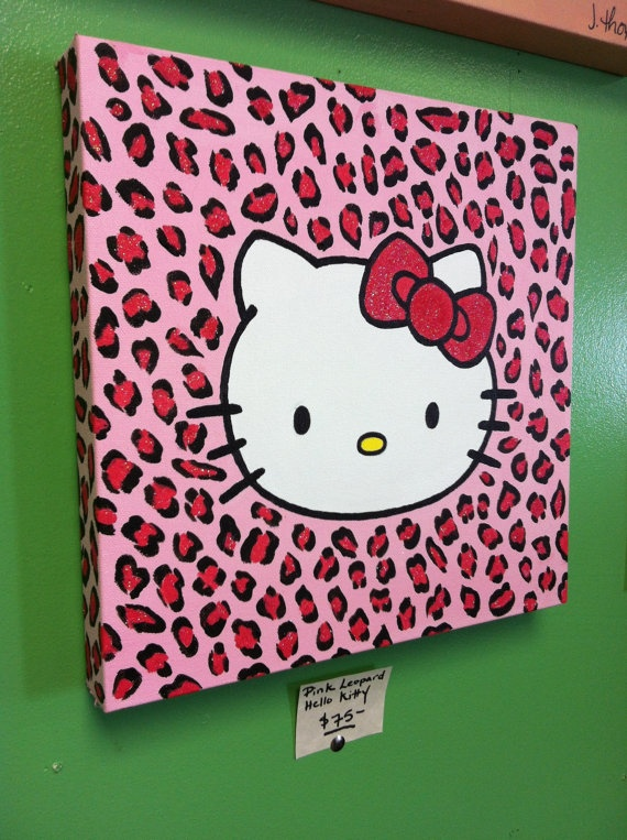 Hello Kitty Painting Sparkly Pink Leopard Print by PaintedByJenny, $75.00