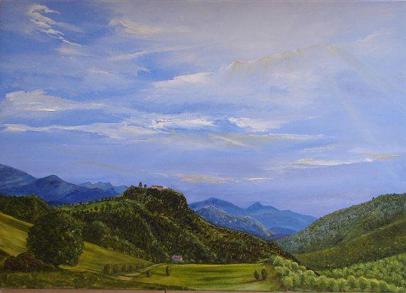 Pintura original al óleo de alta montaña paisaje del Pirineo