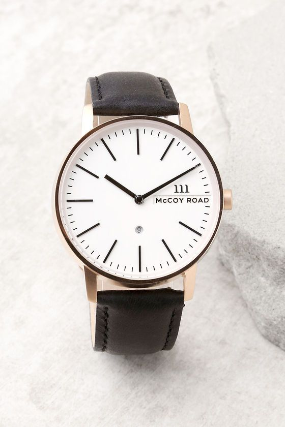 McCoy Road Nine30 Rose Gold and Black Leather Watch