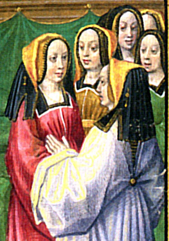 """""""Hèloise Instructs her Pupil"""", fol. 137. Master of the Prayer Books of Around 1500. Charles d'Orlèans, """"Poëms""""; Pseudo-Hèloiuse """"Art d'Amour""""; Brughes, ca 1483 and ca 1490. Image from the book Illuminating the Renaissance: The Triumph of Flemish Manuscript Painting in Europe, by J. Paul Getty Trust (2003). Page #400; Info on page #398. Getty Publications. Los Angeles, CA, USA. Paperback edition. ISBN #0-8923-6704-0. From Kimiko Small"""
