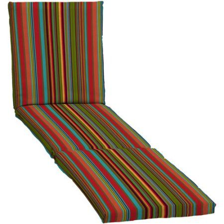 Mainstays Outdoor Chaise Cushion, Bright Stripe, Multicolor