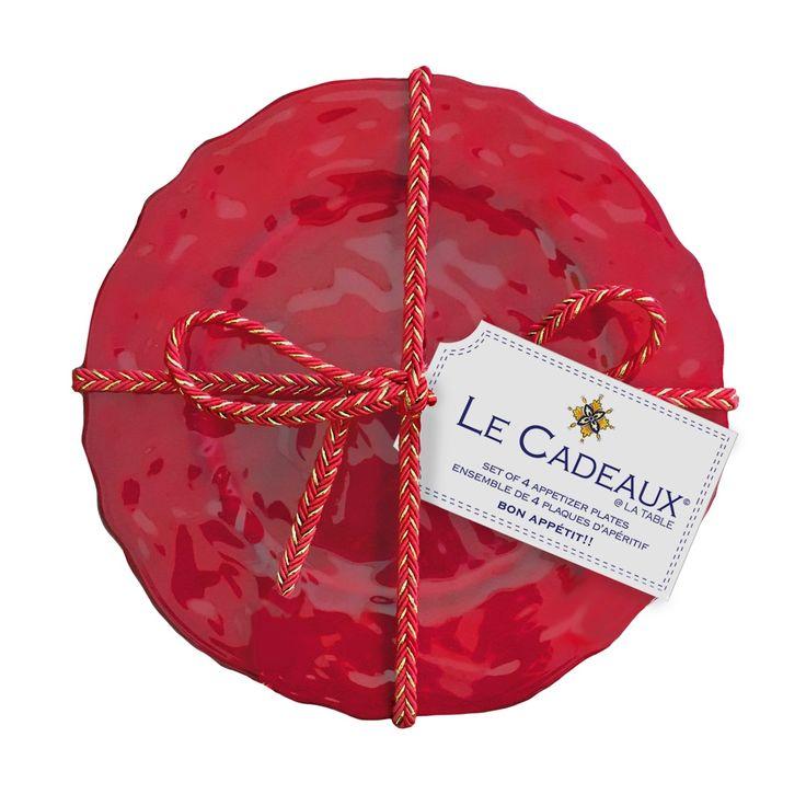 """Le Cadeaux Garnet Red 6.5"""" Melamine Appetizer Plate Gift Set (Set of 4)"""