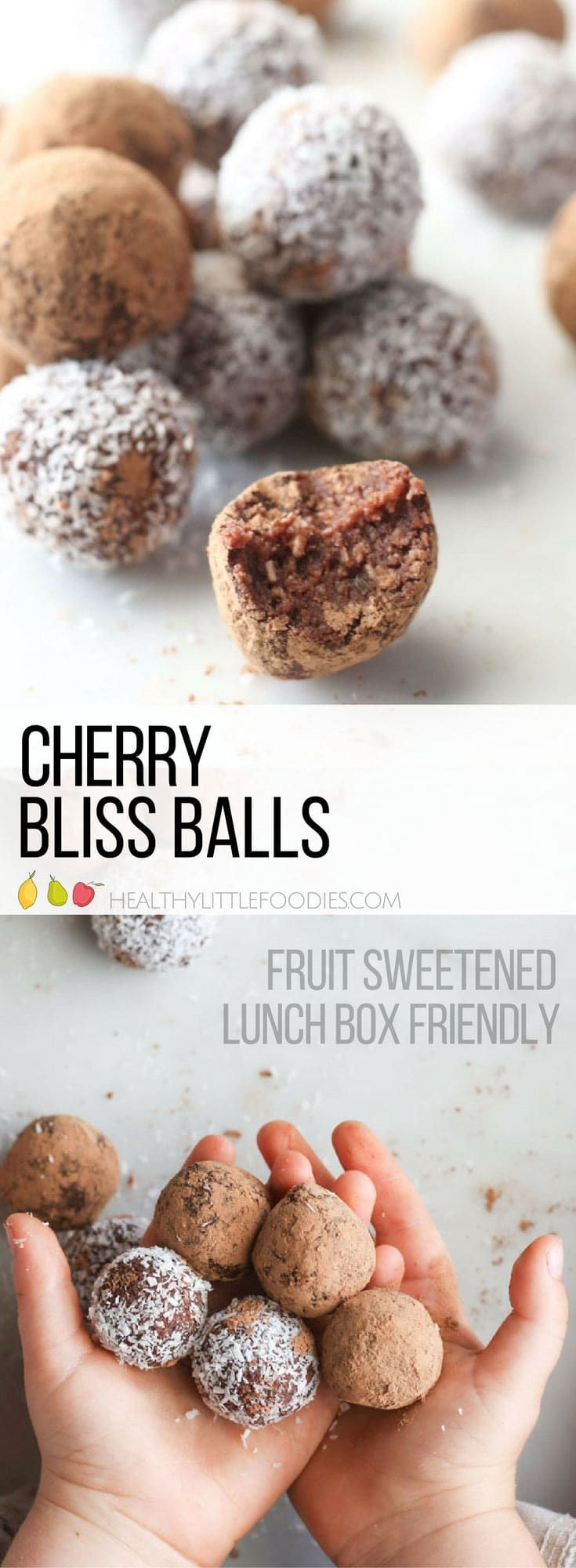 Cherry bliss balls. Fresh cherries mixed with oats, coconut, dates and cacao. Nut free making them perfect for the lunchbox. Easily adaptable to suit tastes.   #blissballs #lunchboxideas #nutfree via @hlittlefoodies