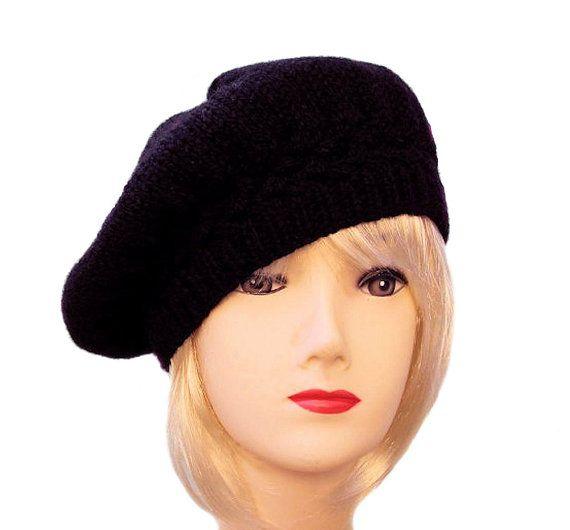 Black Beret Hand-Knitted Wool Alpaca Hat by Sue Maun  www.etsy.com/Shop/SueMaun