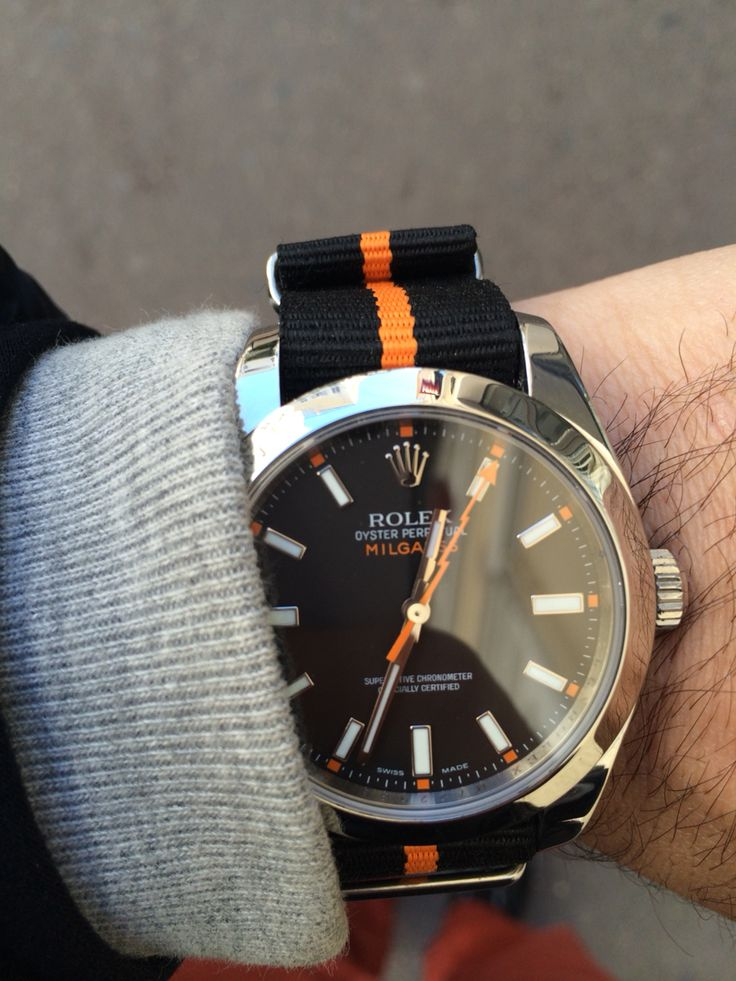 Rolex Milgauss Ref. 116400 with Nato Strap Black Orange