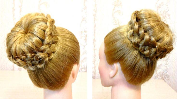Прическа с бубликом. Прическа с плетением. Видео урок 3. Braided hairstyle.