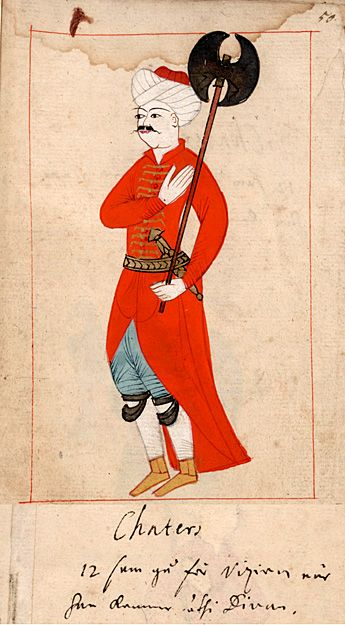 """Footmen of the Grand Vizier  """"Chaters 12 som gå för Viziren när han kommer uthi Divan""""   """"12 footmen who go before the Vizier when he goes to the Divan"""" Satir. The 'Rålamb Costume Book' is a small volume containing 121 miniatures in Indian ink with gouache and some gilding, displaying Turkish officials, occupations and folk types. They were acquired in Constantinople in 1657-58 by Claes Rålamb who led a Swedish embassy to the Sublime Porte."""