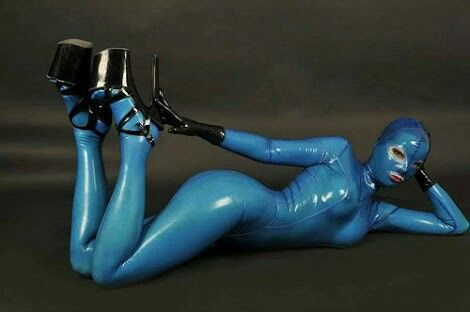 #blue #catsuit #bodysuit #heighheels