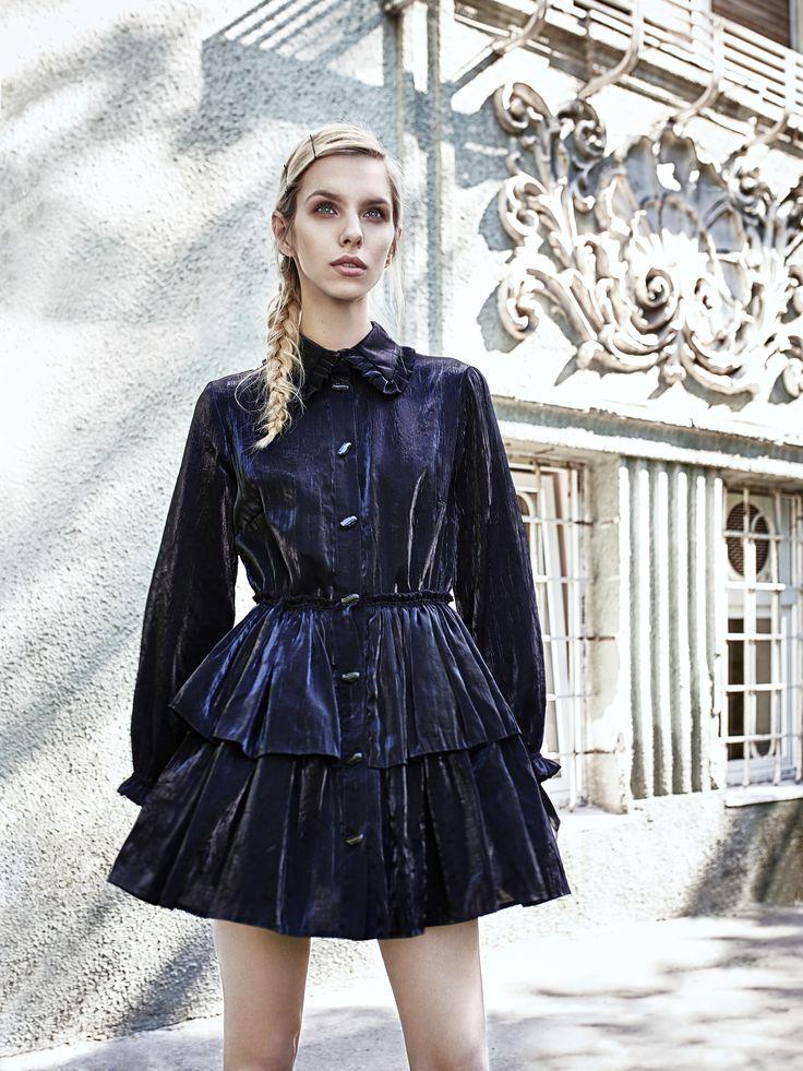 Metallic black dress by Oana Pop  Photo: Mihaly Zoltan Model: Cristina Oltean Mua: Ioana Malai Hair: Leve Iuhos #fashion #fashionphotography #fashioneditorial #fashiondesigner #dresses #blackdress #metallicblackdress
