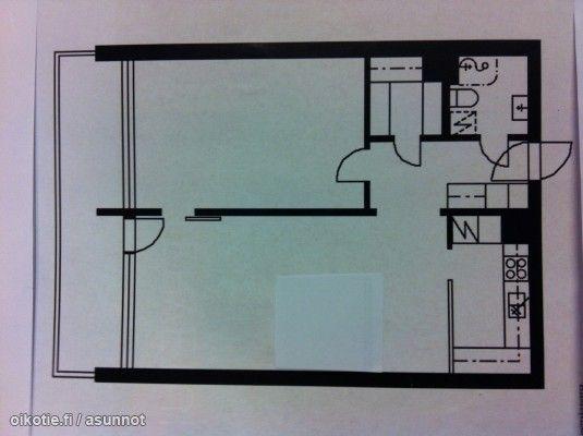 2 rooms, a kitchenette, walk-in closet and a wide balcony (62,5m2) / Iso kaksio keittokomerolla,  vaatehuoneella ja täysleveällä parvekkeella (62,5m2) #pohjapiirros