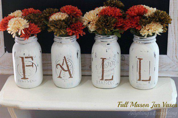 Fall Mason Jar Vases | 16 DIY Crafts for Fall