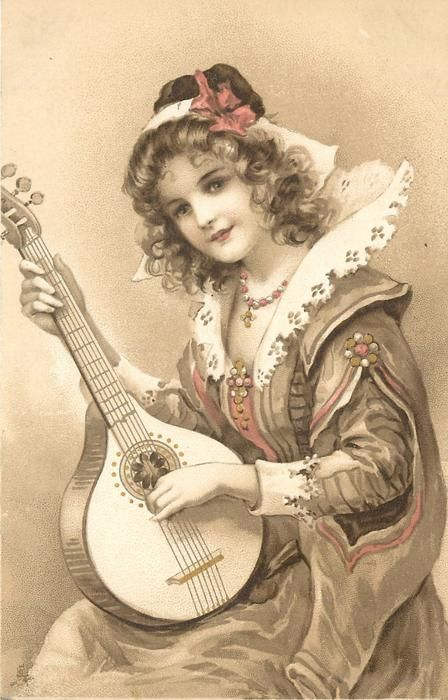 woman plays lute
