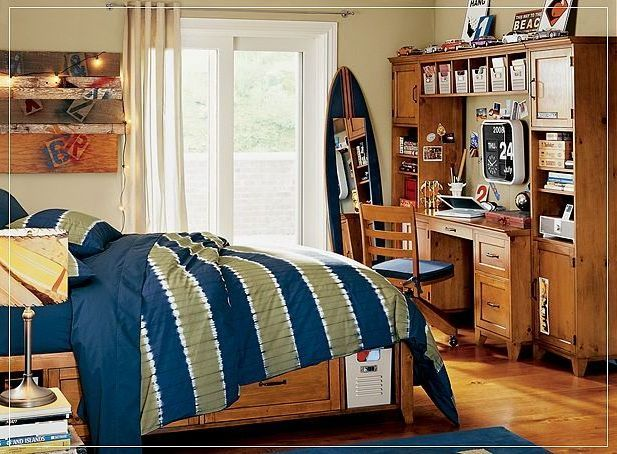 kids room, Modern Bedroom Design Ideas Laminate Flooring Blue Carpet Flooring Interior Bedroom Study Table Design Chair Sliding Glass Door Cream Wall Pillow Table Lamp Blue Duvet Cover Wall Lamp Cream Curtain Drawer: Captivating of Modern Boys Room with Functional Bed