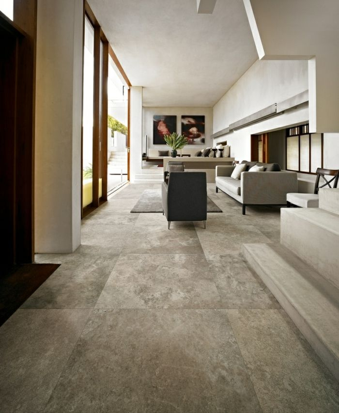 Wohnzimmer Fliesen Moderne Wohnzimmereinrichtung Offener Wohnplan