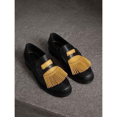 Contrast Kiltie Fringe Leather Loafers in Black/pale Saffron Yellow - Men | Burberry