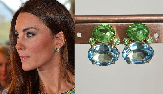 Kate Middleton Peridot Aquamarine Earrings E570
