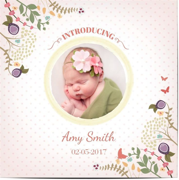 Baby Announcement Cards for Girls - New Girl Baby Shower Invitations - Optimalprint