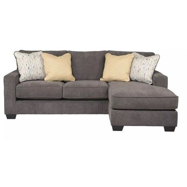 Ashley Furniture Hodan Fabric 2 Piece Sectional ($821) ❤ liked on Polyvore featuring home, furniture, sofas, grey, fabric couch, grey fabric couch, upholstered sofa, gray sectional and grey loveseat