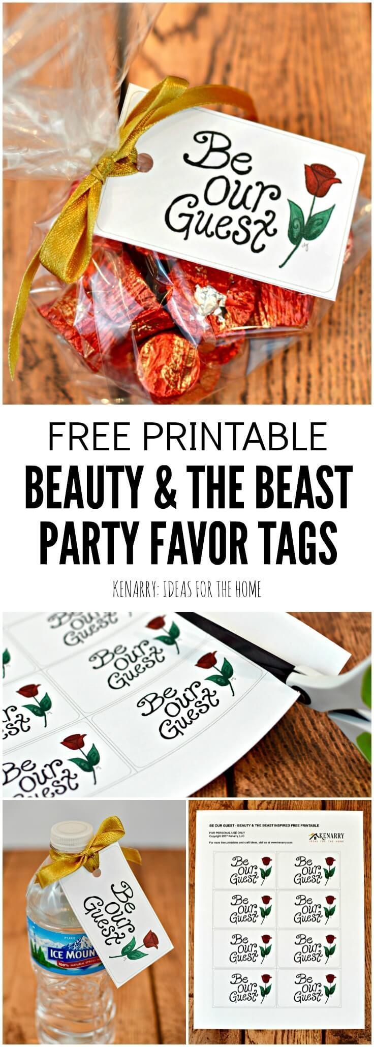 Attach these free printable Be Our Guest tags to Beauty and the Beast party favors for your Disney themed wedding or Disney princess birthday party -- or tie to treats for people staying in your guest room.