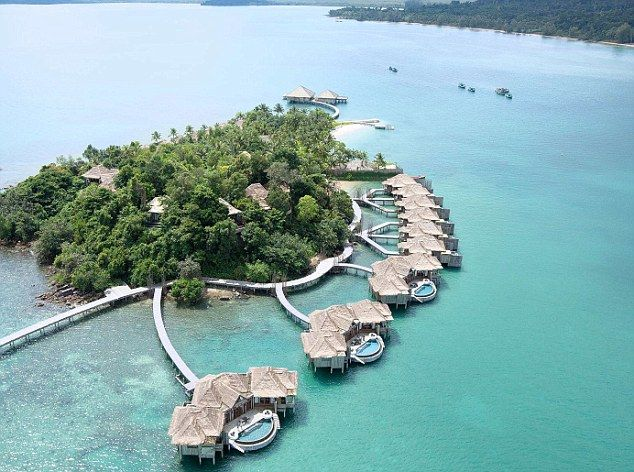 Private paradise: An aerial shot of the luxury resort Song Saa in Cambodia...