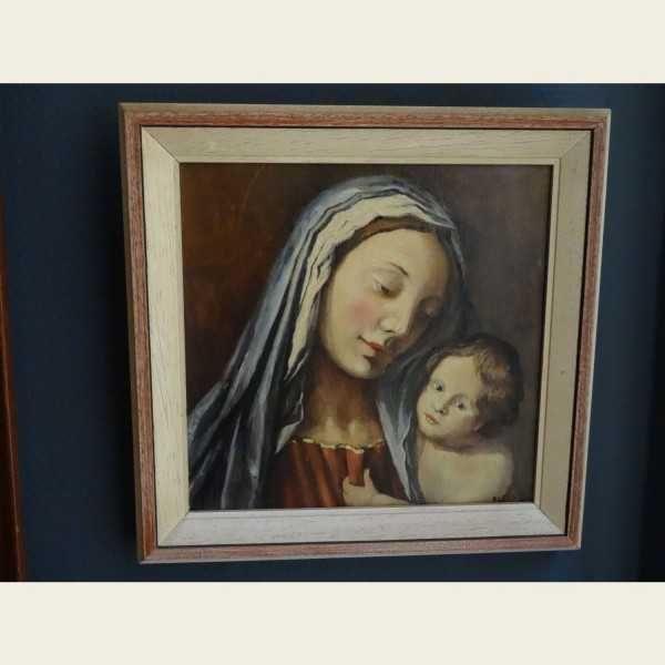 Schilderij van Maria met kindje Jezus, olieverf op doek