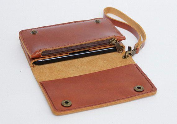 Leather iPhone wallet case with mini zipper in door BluePetalz