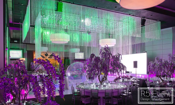 Amazing Green and Purple Lighting at this unique Avatar-Inspired Bat Mitzvah by R5 Event Design