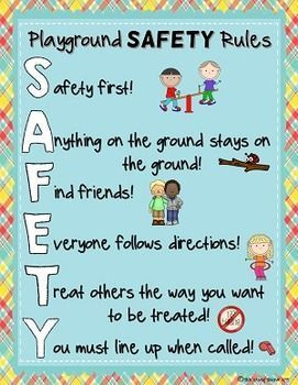 Playground and Recess SAFETY Guidelines Posters