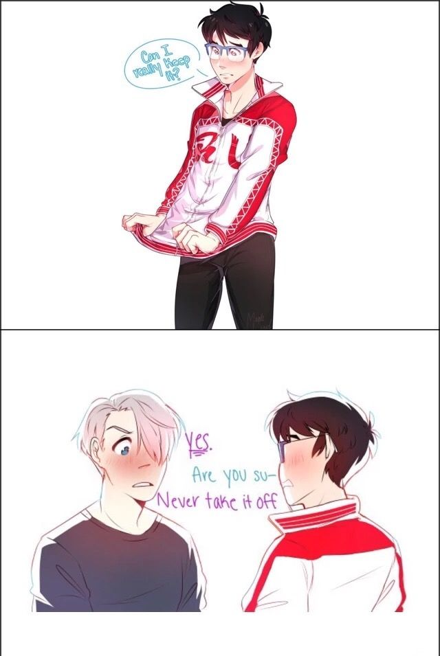 Viktor Nikiforov, Katsuki Yuuri, couple, jacket, cute, text; Yuri!!! on Ice