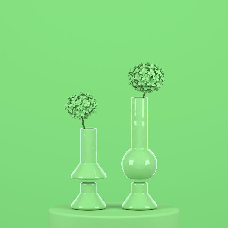 PRIMITIVS - KIT NO.4  A preselected kit of 4 PRIMITIVS pieces in 3D-printed glossy ceramics in gecko green.  PRIMITIVS - Changing moods  #3Dprinted #3Dprintedceramics #3Dprinting #ceramics #decoration #productdesign #interiordesign #black #green #greenceramics
