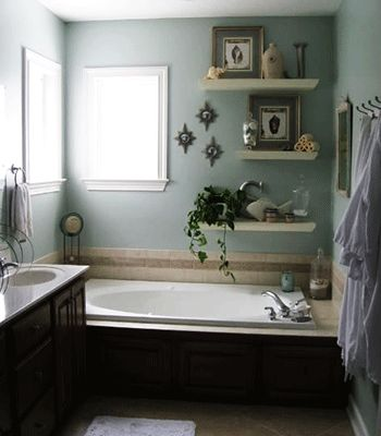 Take advantage of the walls above the tub.  bathroom decorating ideas for small bathrooms - Google Search I'm going to do this!!