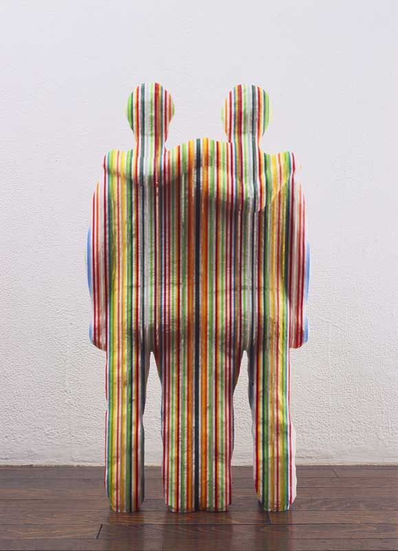 The multi-colored stripe sculpture by Kyotaro HAKAMATA, Japan