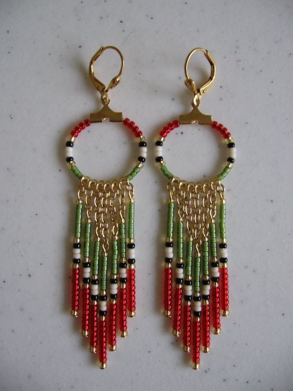 Seed Bead Hoop Chain Earrings  Avocado Green/Red by pattimacs, $20.00