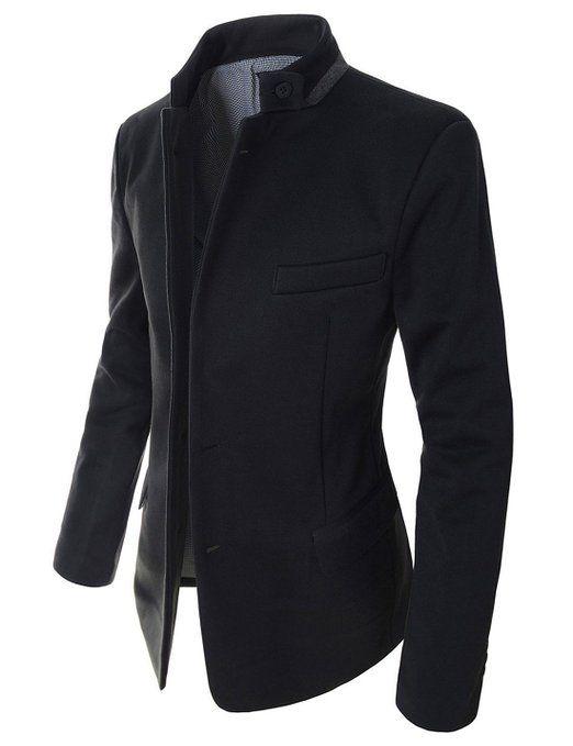 Showblanc(SBDJK8) Man's Slim FIt Chinese Collar 2 button Casual Style Blazer at Amazon Men's Clothing store: