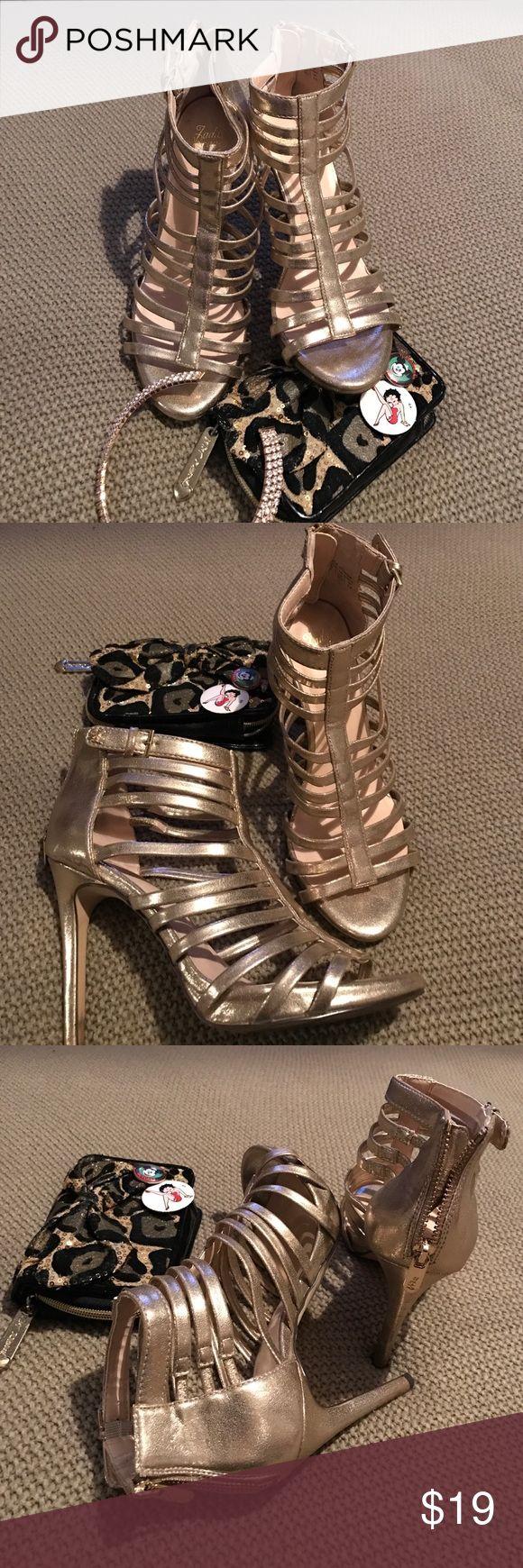 Gold sandal heels ⭐️✨⚡️🌼 Gold metallic heels. Back zipper and ankle strap. Worn once. jada brave Shoes Heels