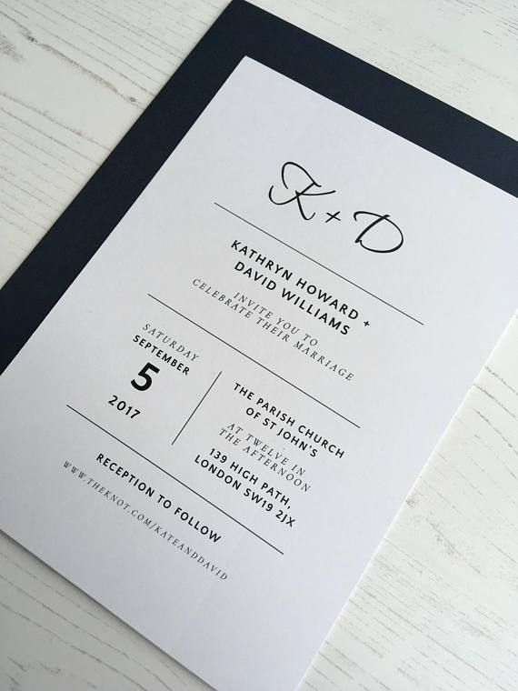Classic, minimalist wedding invitation set, dark blue navy envelopes