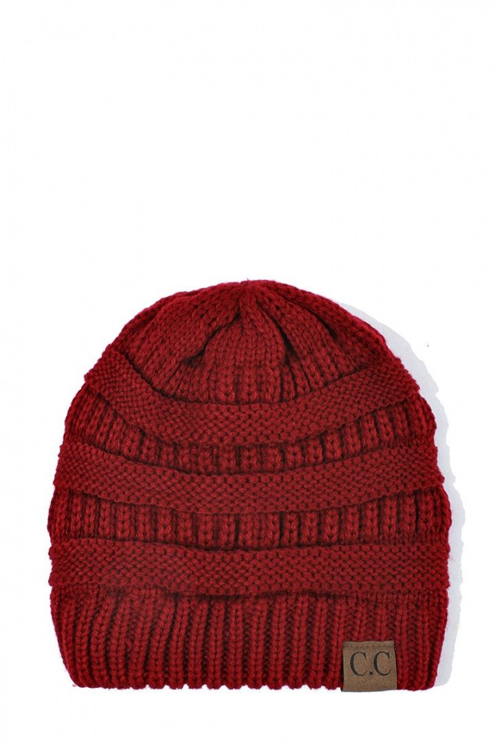 This slouchy CC beanie is perfect for cool days. You'll really make a statement when you wear this comfy hat, and of course you must have them in all the colors! 100% Acrylic knit; Extremely Soft 9.5