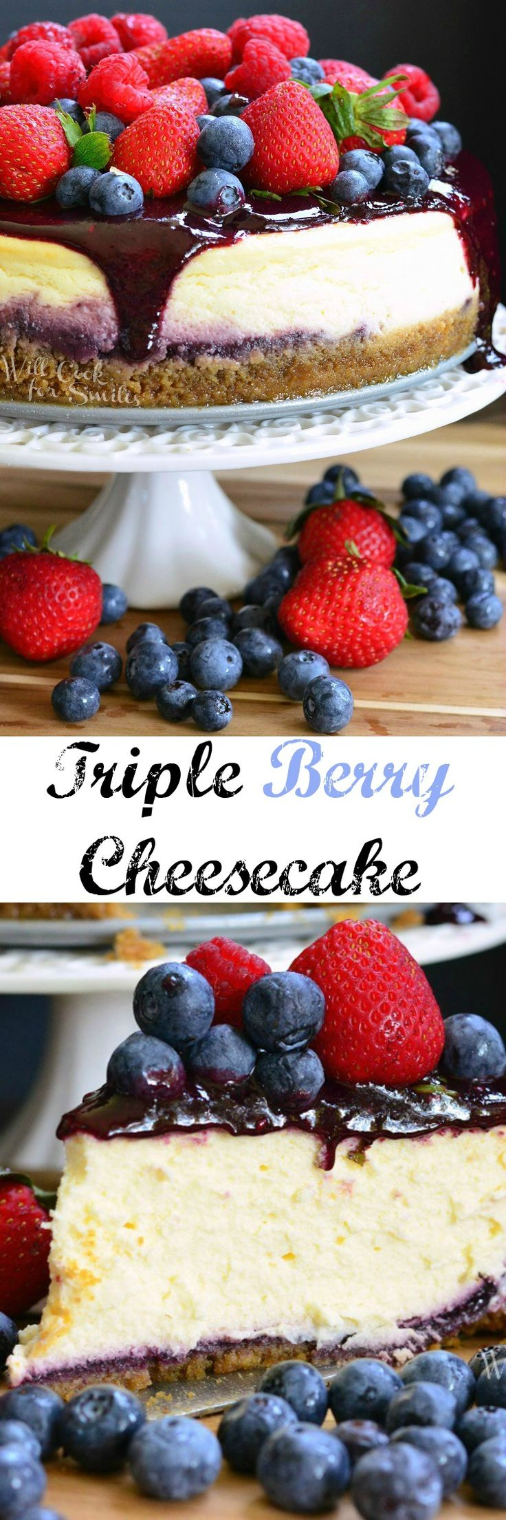 Mixed Berry Cheesecake aka Red, White, and Blue Cheesecake   Will Cook For Smiles   Bloglovin'