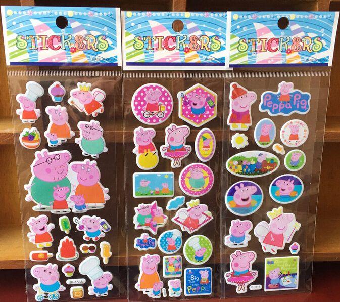 6 Hojas de color rosa cerdo familia pegatinas de pared para niños decoración Casera de la pared el animal lindo mini 3D de la etiqueta engomada del ordenador portátil refrigerador patineta garabato