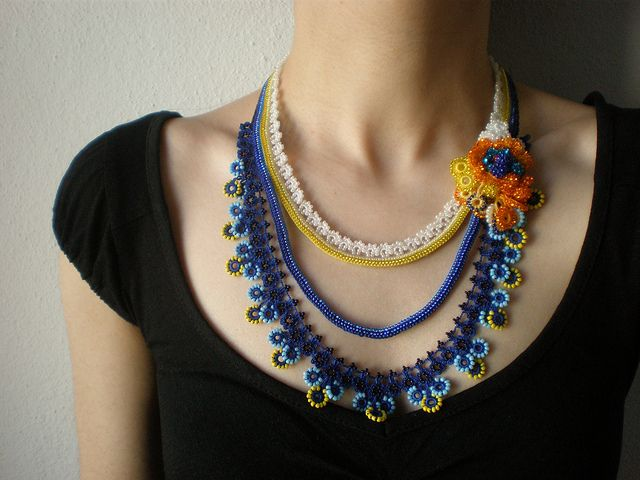 Tagetes Minuta ... Beaded Crochet Necklace - Royal Blue Turquoise Yellow White Orange Flowers by irregular expressions, via Flickr