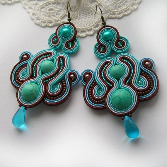 Le Meridien soutache earrings jewelry for gift Dangle soutache earrings fantasy unique art fashion handmade jeweled